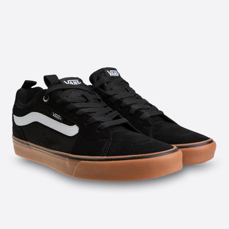 Černé pánské kožené tenisky Vans Filmore Suede Canvas Black And Gum ed0aa39dc73